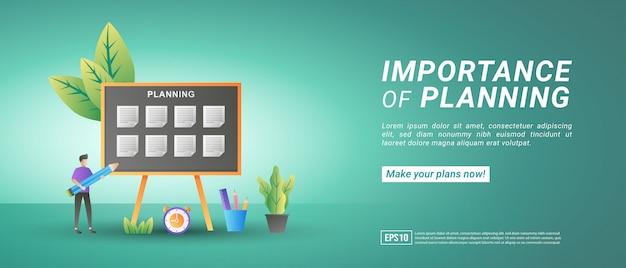 Haga planes y gestione el tiempo en línea. implementar disciplina, trabajo eficiente, horario de trabajo o escuela. Vector Premium