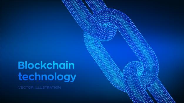 Сhain con código binario, concepto blockchain, Vector Premium