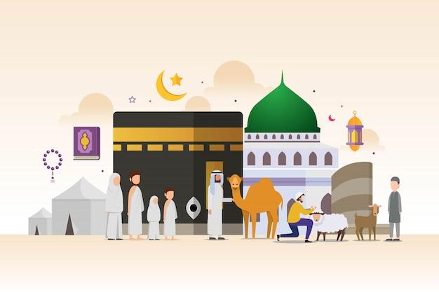 Hajj y umrah temporada con concepto de diseño de personajes de personas diminutas Vector Premium