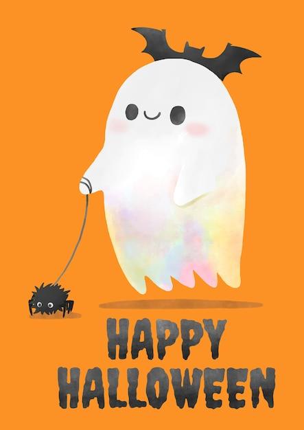 Halloween, acuarela fantasma caminando la araña.   Vector Premium