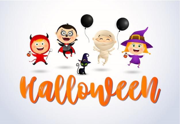 Halloween con niños felices con disfraces de monstruos y gato vector gratuito