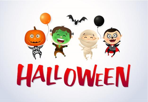 Halloween con niños felices con disfraces de monstruos vector gratuito