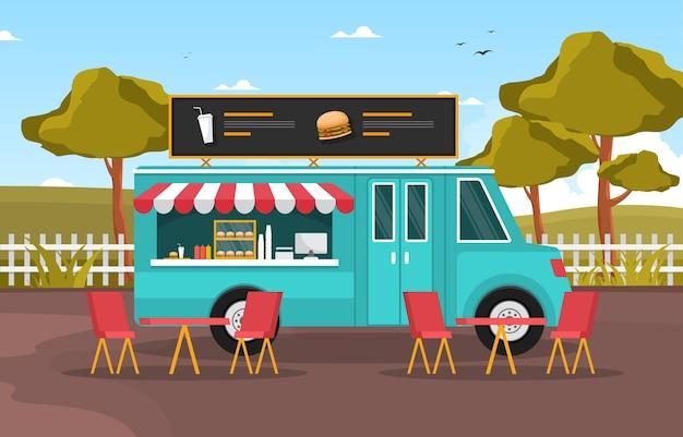Hamburguesa comida rápida camión van coche vehículo calle tienda ilustración Vector Premium