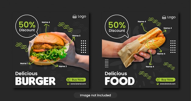 Hamburguesa o menú de comida rápida plantilla de banner de redes sociales Vector Premium