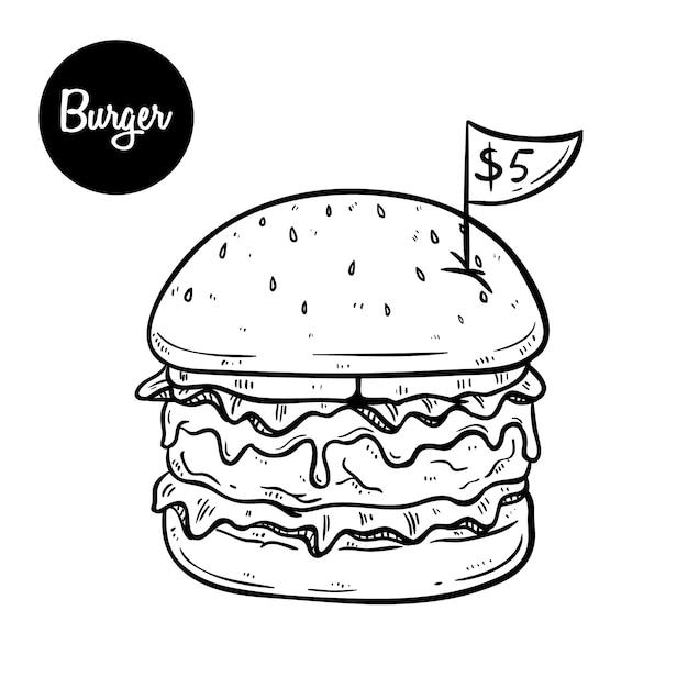 Hamburguesa de queso derretida que solo cinco dólares usando el estilo dibujado a mano en blanco y negro Vector Premium