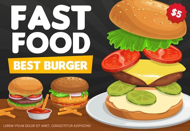 Hamburguesas, hamburguesas de comida rápida y hamburguesas con queso Vector Premium