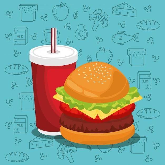 Hamburguesas y refrescos comida rápida vector gratuito