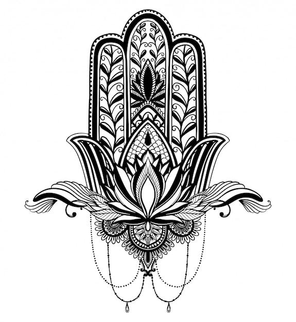 Hamsa talismán religión asiática y flor de loto. Vector Premium