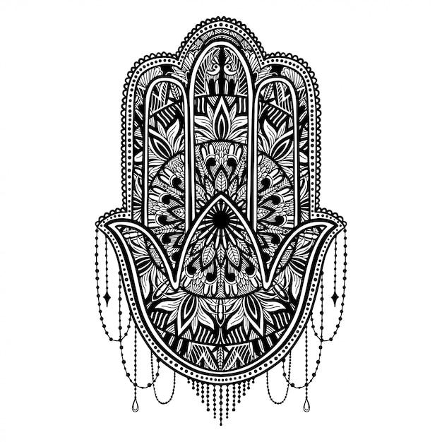 Hamsa talismán religión asiática. Vector Premium