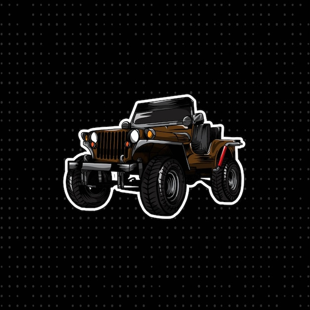 Hand draw classic jeep car Vector Premium