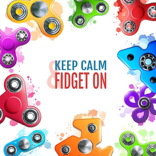 Hand spinner toys frame vector gratuito
