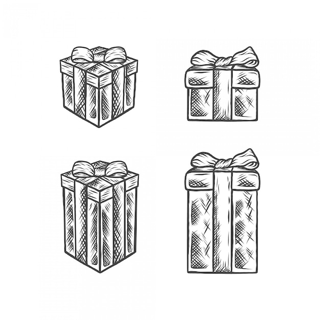 Handdrawing vintage ilustración caja regalo Vector Premium