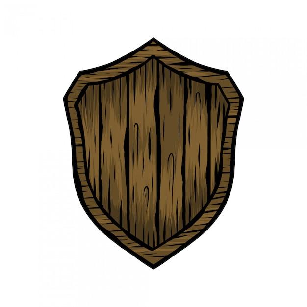 Handdrawing vintage ilustración escudo madera Vector Premium