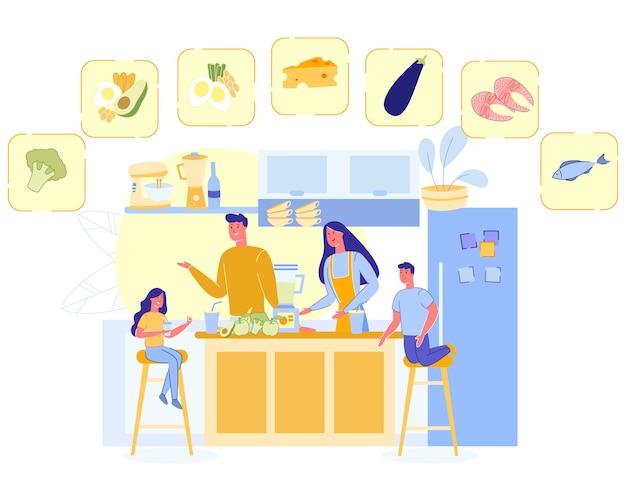 Happy family cook healthy nutrition, padres niños Vector Premium