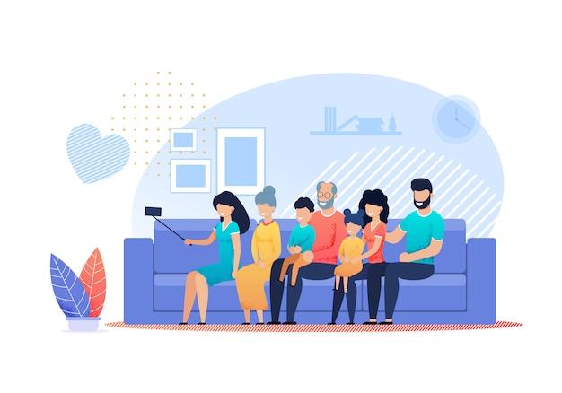 Happy family selfie en casa vector plana de dibujos animados Vector Premium