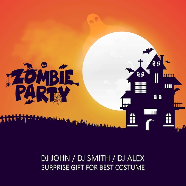 Happy Halloween Zombie Party Vector De Diseño De Tarjeta De