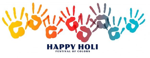 Happy holi coloridos estampados a mano banner vector gratuito