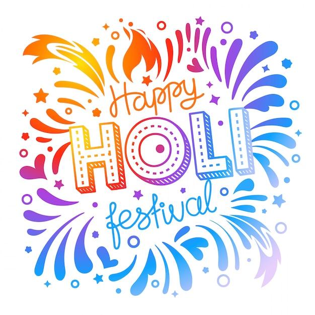 Happy holi festival vector banner Vector Premium