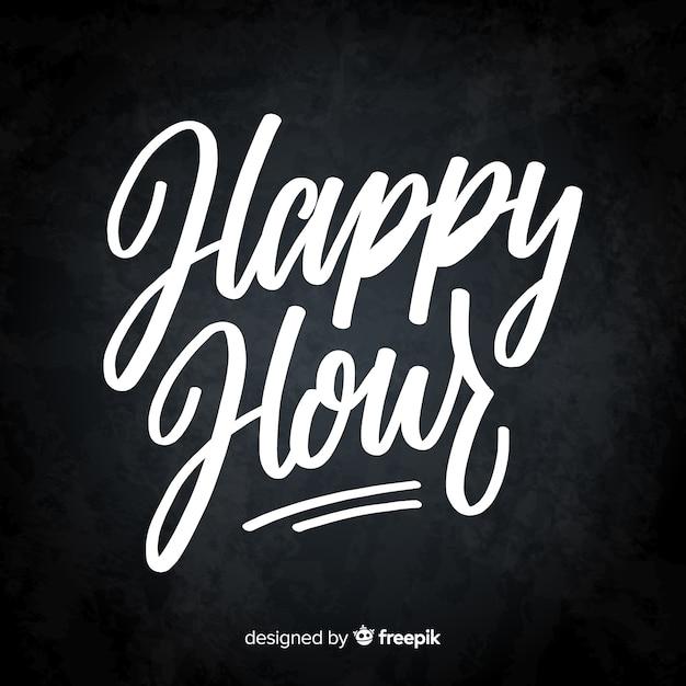 Happy hour letras en pizarra vector gratuito