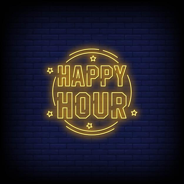 Happy hour letreros de neón estilo texto vector Vector Premium