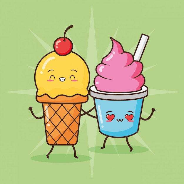 Happy ice cream kawaii, diseño de alimentos, ilustración vector gratuito