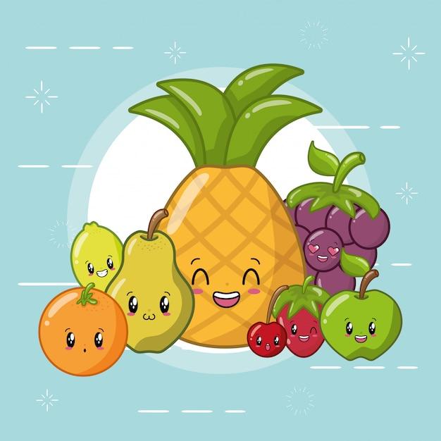 Happy kawaii frutas emojis vector gratuito
