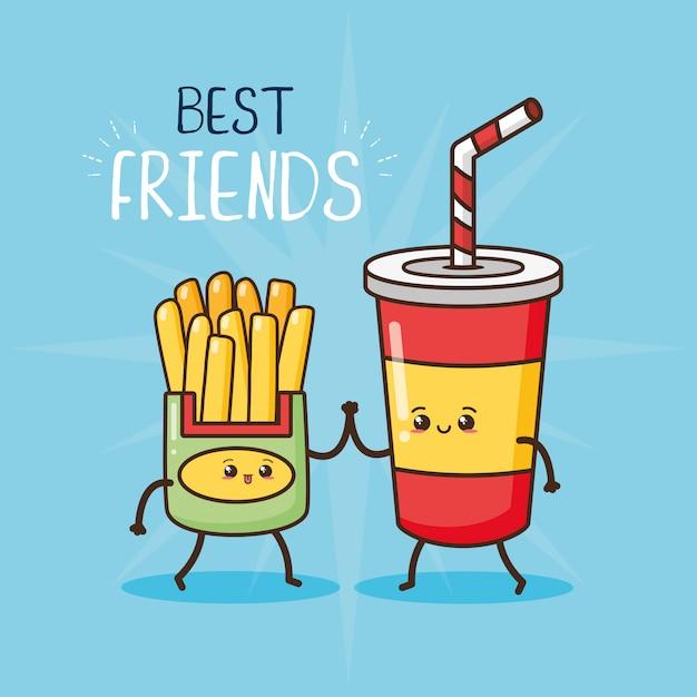 Happy kawaii, papas fritas y vidrio de soda, diseño de alimentos, ilustración vector gratuito
