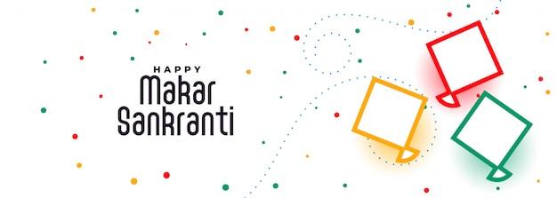 Happy makar sankranti kites festival banner design vector gratuito