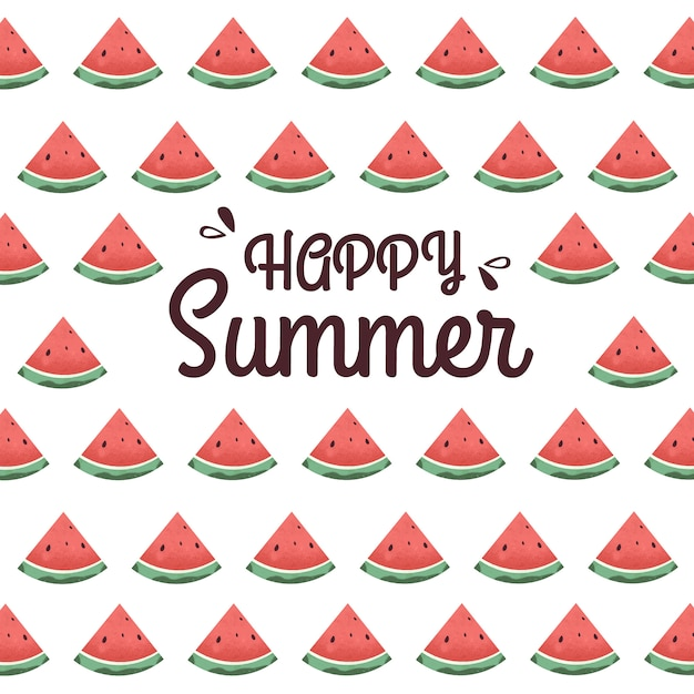 Happy_summer_background_with_watermelon Vector Premium