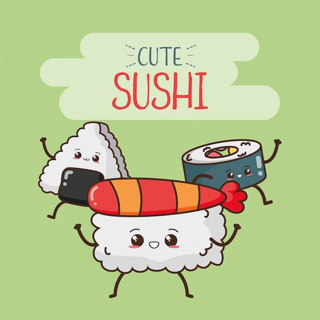 Happy sushi kawaii, diseño de alimentos, ilustración vector gratuito