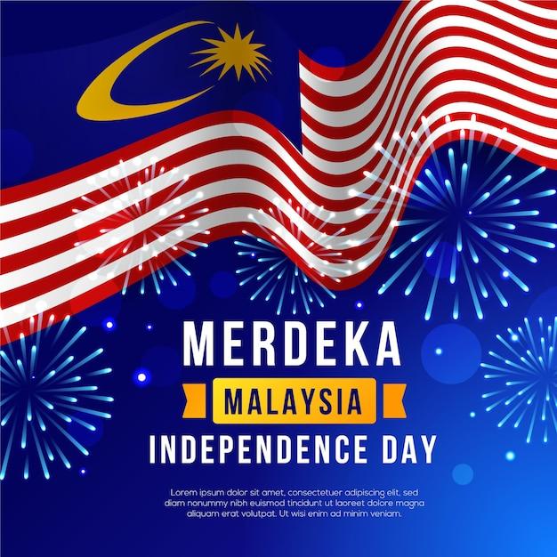 Hari merdeka con bandera y fuegos artificiales vector gratuito
