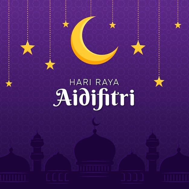 Hari raya aidilfitri luna y estrellas vector gratuito