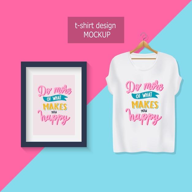 Haz mas de lo que te hace feliz. letras de citas motivacionales. diseño de camiseta. Vector Premium