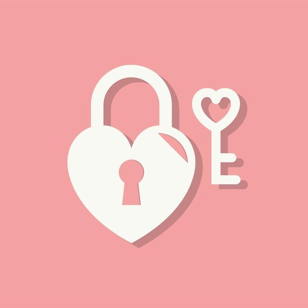 Heart lock valentines day icon vector gratuito