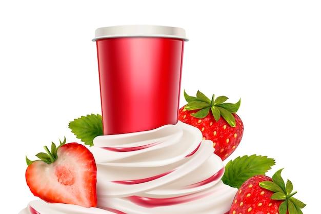 Helado de fresa y yogur con fruta fresca y recipiente Vector Premium