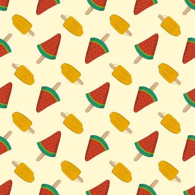Helado de frutas sin costura de verano, plantilla de patrón para textil o fondo Vector Premium