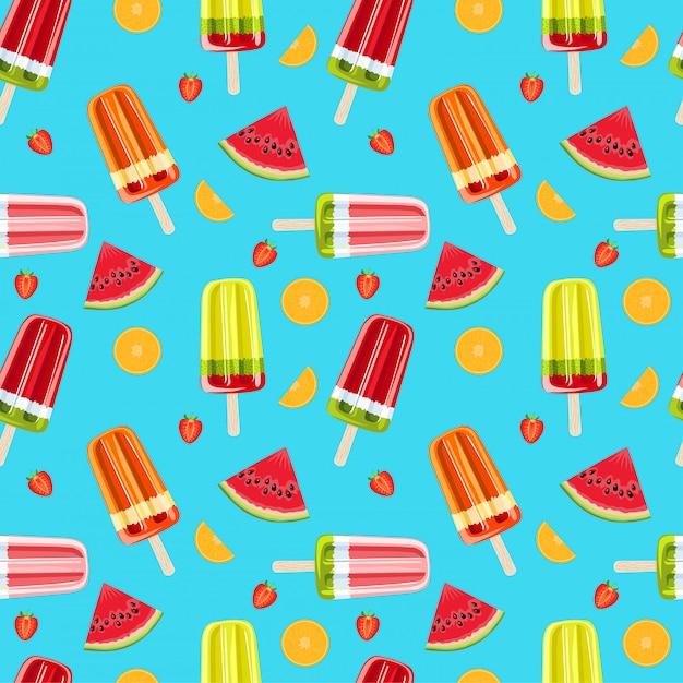 Helado y frutas tropicales de patrones sin fisuras. brillante verano sin patrón. ilustración de frutas y hielo de frutas. Vector Premium
