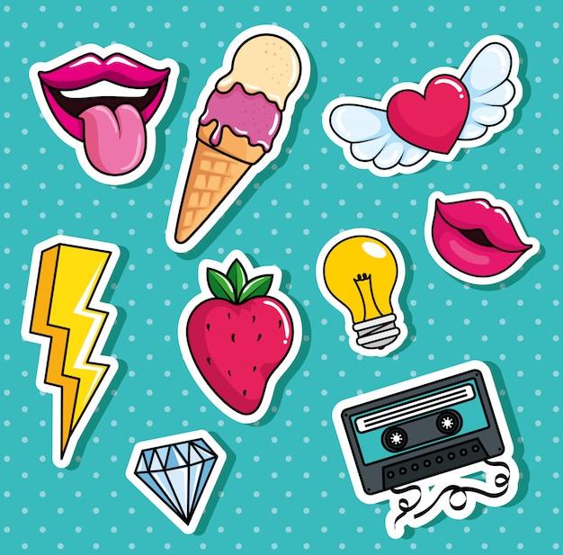 Helados y establecer iconos estilo pop art Vector Premium