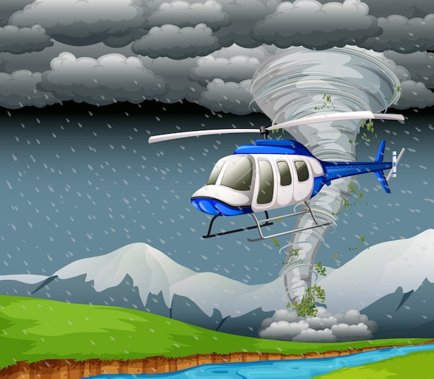 Helicóptero volando con mal tiempo. vector gratuito
