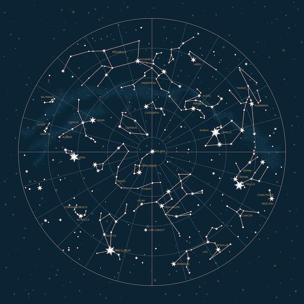 Mapa Del Cielo Nocturno Hoy.Hemisferio Norte Mapa Estelar De Constelaciones Vector Premium