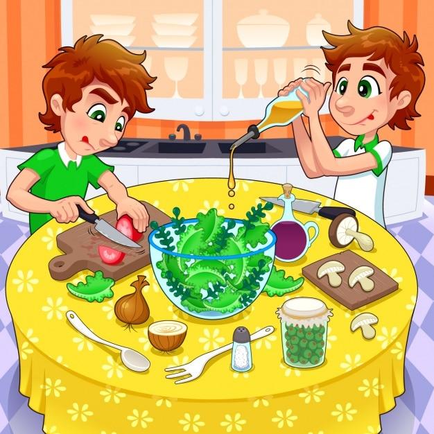 Hermanos preparando una ensalada vector gratuito