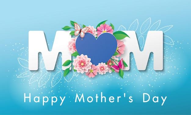Hermosa bandera feliz día de la madre tarjeta de felicitación Vector Premium