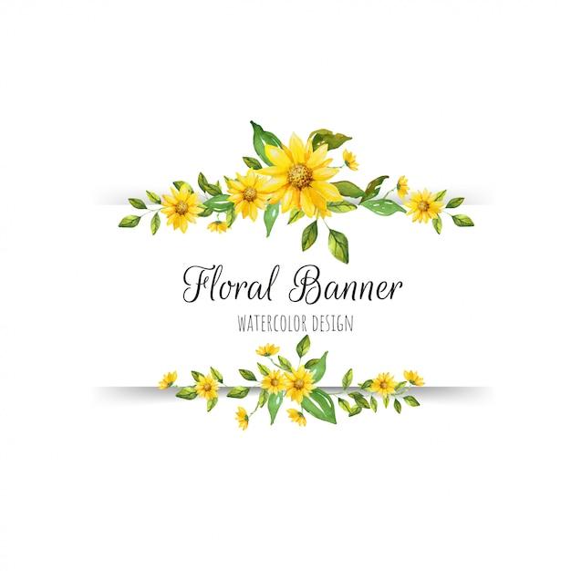 Hermosa bandera floral Vector Premium