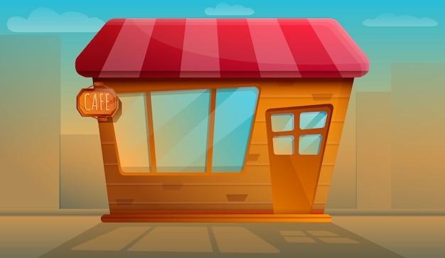Hermosa cafetería vieja noche de trabajo, ilustración vectorial Vector Premium