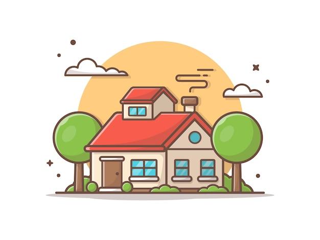 Hermosa casa con nubes y árboles. ilustración del icono Vector Premium