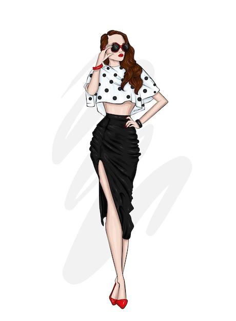 Una hermosa chica alta con piernas largas con una elegante falda, blusa y zapatos de tacón alto. Vector Premium