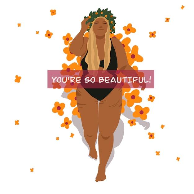 Hermosa chica cuerpo positivo Vector Premium