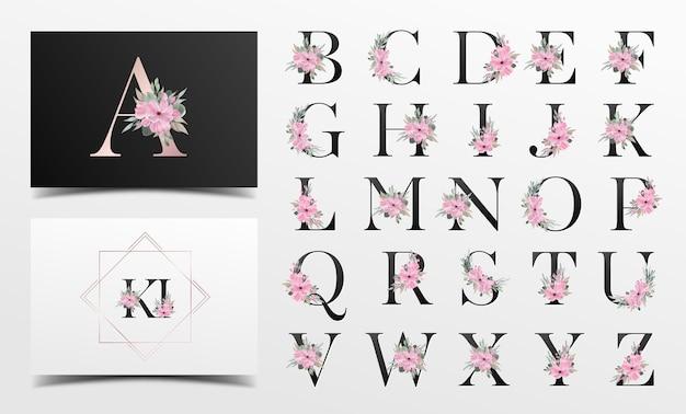 Hermosa colección de alfabeto con decoración floral de acuarela vector gratuito