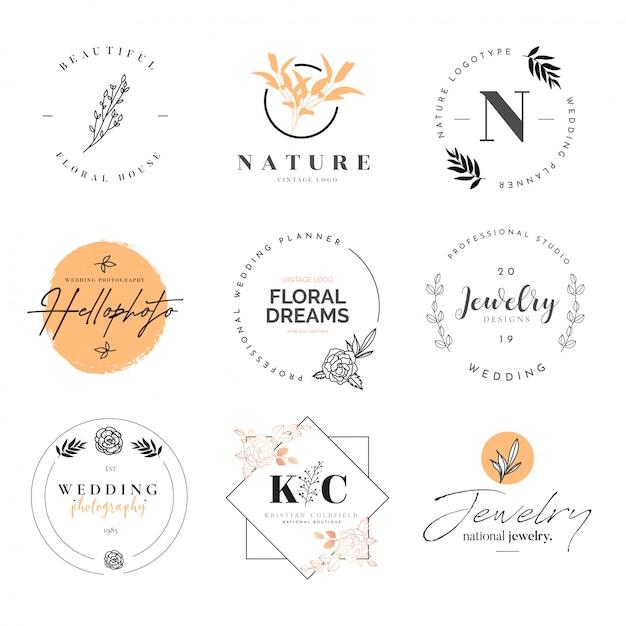 Hermosa colección de logotipos vector gratuito