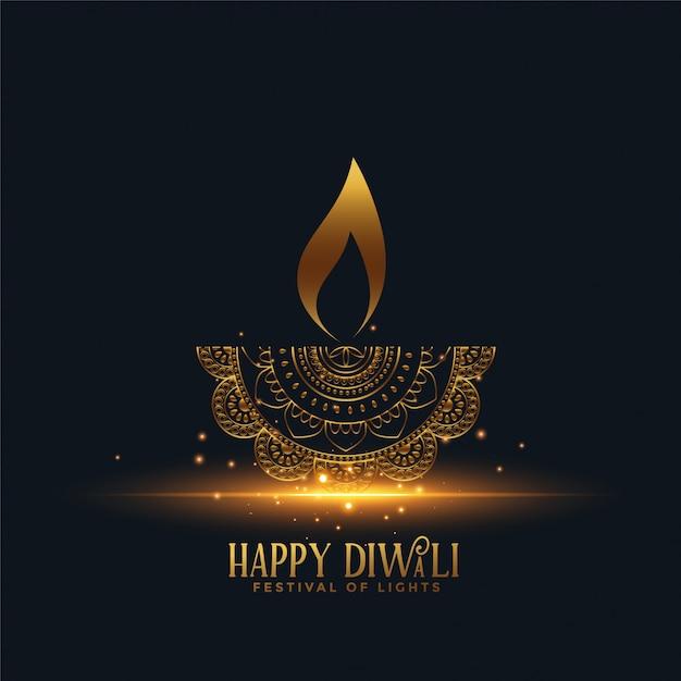 Hermosa dorada diya feliz diwali vector gratuito